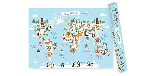 Friendly Fox Kinderweltkarte - Weltkarte für Kinder auf Deutsch - XXL Kinder Atlas Poster - A1 Lernposter...