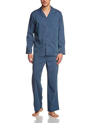 Seidensticker Herren Pyjama lang 147408 Zweiteiliger Schlafanzug, Blau (Blau-Blau 800), 110