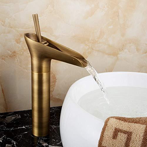 YHSGY Waschtischarmaturen Antiker Messing Bad Waschbecken Wasserhahn Wasserfall Auslauf Mixer Tap Deck Mount Einloch Mixer Tap