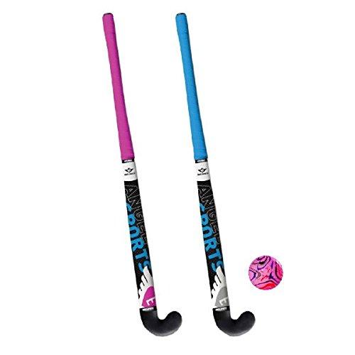 Angel Sport Hockeybal Hockeyset 2 Schläger - Palo de Hockey sobre Hierba, Color Azul, Talla 71 cm