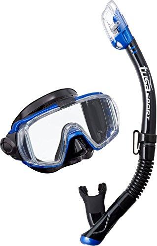 Tauch-set Tusa Visio maske trocken ventil-schnorchel erchwachsene, schwarz blau