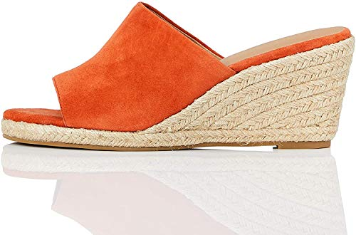 Marchio Amazon - find. Mule Wedge Leather Sandalo Espadrillas con Zeppa, Braun (Terracotta), 36 EU