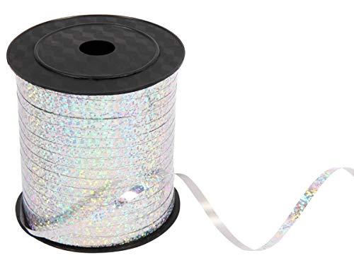 Alsino Geschenkband Geschenkbänder Ringelband Deko Luftballons Schnur Schleifenband Kräuselband Polyband Satinband 5mm für Geschenke und Verpackungen ca. 230 Meter, Silber Glitzer