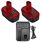 2 Pack DieHard C3 Battery Compatible with Craftsman 19.2 Volt Battery Lithium 130279005 1323903 11375 11376 315.113753 315.PP2011 and Charger for Craftsman 19.2V Lithium-ion Ni-Mh&Ni-Cd Battery