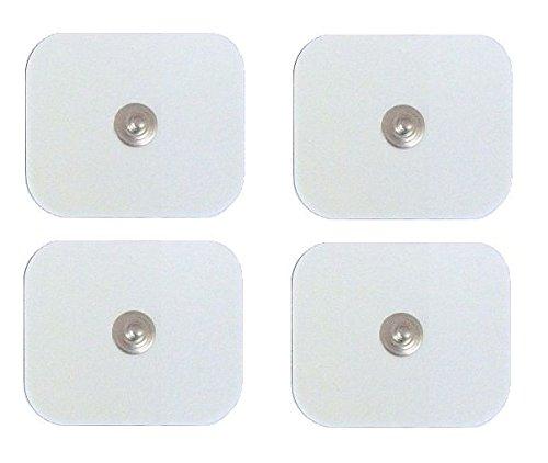 4 Elettrodi adesivi cerotti Foam stimolazione lunga durata quadrati 5x5cm clip snap 4mm fiab