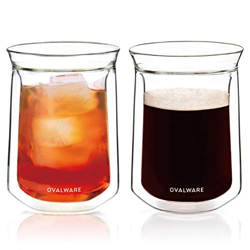 OVALWARE Double Wall Single Lip Insulated Glass Cup, Set of 2 (12oz / 350ml) - Borosilicate Glass For Coffee, Tea, Whiskey, Cocktails & All Beverages - Minimalistic & Durable Double-Wall Drinking Mug
