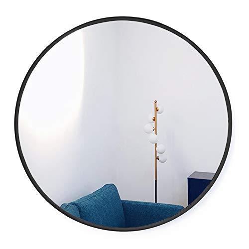 HofferRuffer, Runder Spiegel/Kreis Hängespiegel/Großer Dekorativer Metallrahmen Runder Wandspiegel für Zuhause Schlafzimmer, Badezimmer, Waschraum, Wohnzimmer und Eingangsbereiche (schwarz, 70 cm)