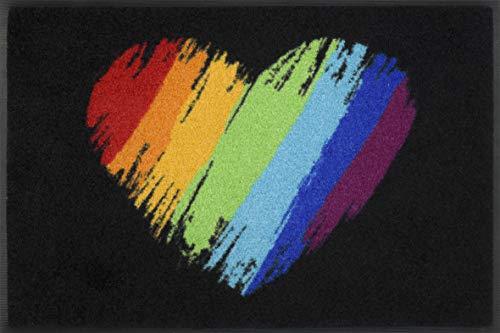 Wash+dry Pride Heart Paillasson Lavable pour intérieur/extérieur 50 x 75 cm
