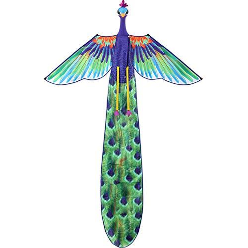 CCCMS Peacock Kite Línea de una Sola Cometa Infantil con Cola Larga 300m línea Fácil Volando en Vientos Fuertes y Ligeros para niños y Adultos