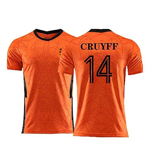 XH Conjunto de Camiseta de fútbol para Hombre, Johan Cruyff # 14 Camiseta de Entrenamiento, Tamaño Adulto, S-2XL (Color : Orange, Size : Large)