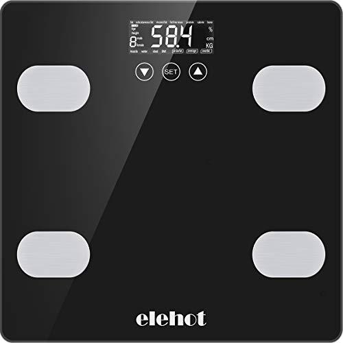 ELEHOT Bascula Baño Digital Escala de Peso Multifunción Balanza Baño Electrónica Sensor Automático Almacena 10 Usuarios Medida Precisa