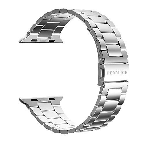 Herrlich Correa de repuesto para Apple Watch 38 mm/44 mm, acero inoxidable y metal, para iWatch/Apple Watch Series SE/6/5/4/3/2/1 (42/44, color plateado)