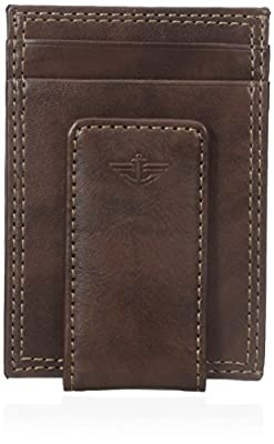 Dockers Men's Slim Money Clip Wallet,Brown,One Size