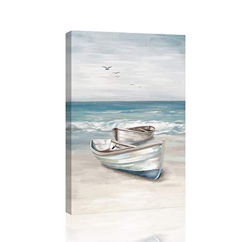 SUMGAR Ocean Wall Art Blue White Sea Canvas Paintings Sandy Beach Pictures Boat Coastal Artwork Framed Seashore Prints Seaside View Home Decor for Bathroom Living Room Bedroom 40x60cm