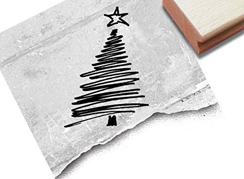 Stempel Weihnachtsstempel WEIHNACHTSBAUM in Linework - Bildstempel Weihnachten Karten Geschenkanhänger Geschenk Weihnachtsdeko - zAcheR-fineT