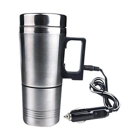 Jecxep Coppa bollitore elettrico portatile 12V riscaldata in acciaio inox tazza di caffè con il caricatore auto