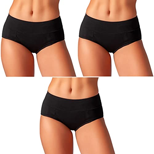 Bambody Absorbent Panty: Period Panties/Maternity & Postpartum Underwear (Large, 3 x Black)