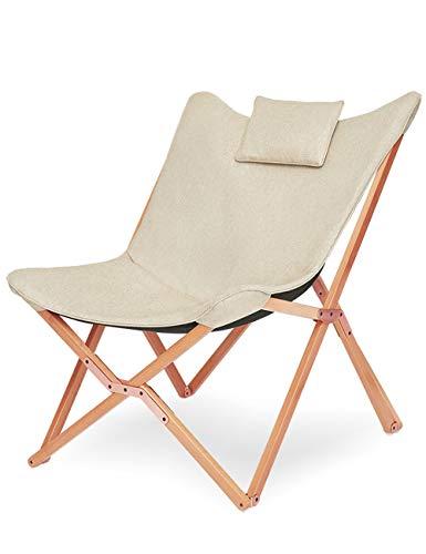 Sillas de Jardin Diseño de Mariposa Sillón Reclinable Silla Plegables Moderno Acolchado para Exterior y Interior Terraza Camping Beige