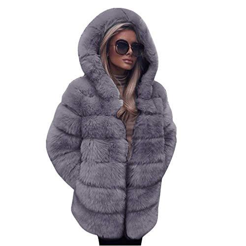 YBIRAL Frauen Pelzmantel Damen Luxus Winter Warm Parka Faux Pelz Mäntel Outwear Jacke Overcoat Wintermantel Lange mit Kapuzen