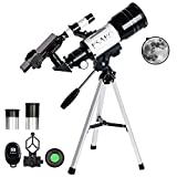 ESAKO Telescopes for Kids & Beginners 70mm Aperture Astronomy Telescopes with Phone Adapter Portable Refractor Telescope for Gift