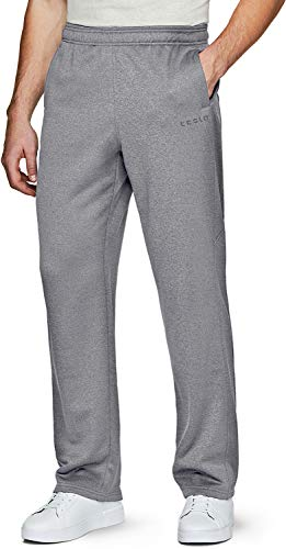 TSLA Men's Fleece Yoga Sweatpants Open Bottom Straight Leg Running Casual Loose Fit Athletic Pants with Pockets, Unique(ykb31) - Light Grey, Small