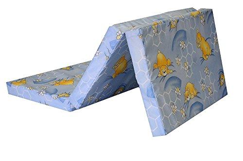 Best For Kids Matratze für das Reisebett 120 x 60 x 6 cm inkl.Transporttasche mit TÜV Kinder-Rollmatratze Kindermatratze in 3 Farben, Reisebettmatratze mit Tragetasche (Hellblau)