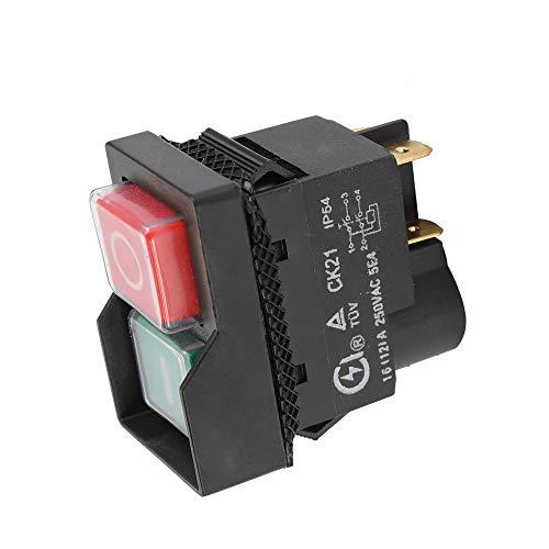 Merssavo Interruptor de Seguridad Universal CK21B de 250 V, Parada de Emergencia, Corte Seguro, interruptores a Prueba de Agua y Polvo, Interruptor electromagnético