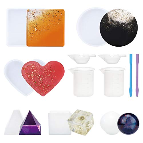Silicone Resin Molds, Gartful 6PCS Resin Casting Molds Includes Sphere, Pyramid, Cube, Square, Round, Heart Shape with Mixing Cups & Sticks for Candle Wax, Soap, Holder, Coaster, Home Decoration, Set of 12