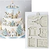 TOSSPER Casa Pan Jengibre Kit Molde Silicona Navidad Fondant Molde Molde Decoración Herramientas Chocolate Gumpaste Cocina Gadgets