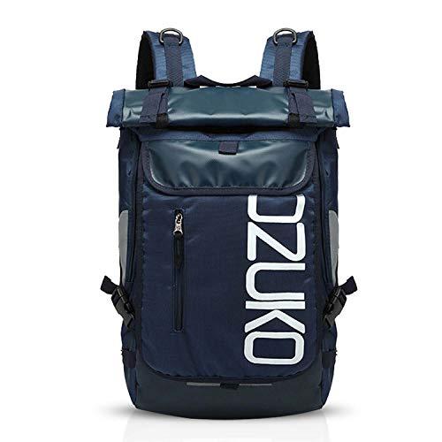 FANDARE Rucksack Bergsteigen Schulrucksack Rolltop Daypacks für 15.6 Zoll Laptoptasche Herren Damen Rucksäcke zum Reise Wandern Camping Schulranzen Schultasche Daypacks Blau