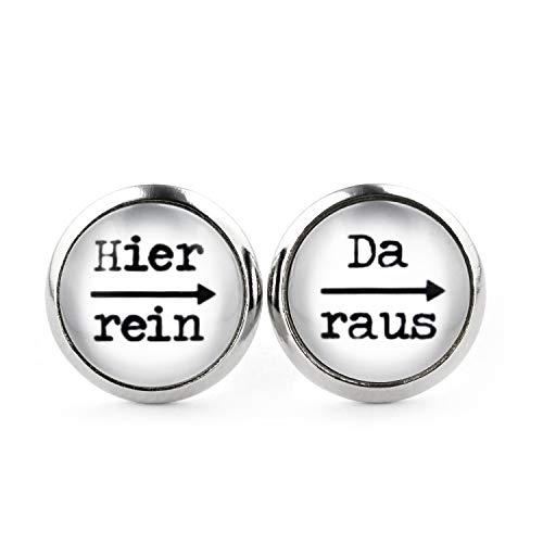 SCHMUCKZUCKER Damen Herren Unisex Ohrstecker mit Spruch Hier rein - da raus Lustige Edelstahl Ohrringe Silber Weiß 12mm