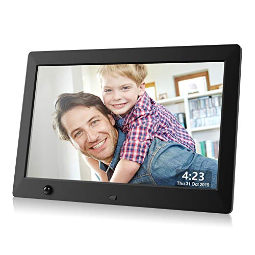 Dhwazz Digital Photo Frame, 10.5 Inch USB IPS HD Electronic Picture Frames with Remote Control, Share Moments via SD Card and Mini USB, Support Slideshow, Video and Music, Motion Sensor