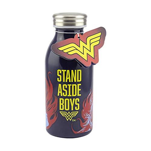Paladone FFF7B0AE8 Wonder Woman, Borraccia in Acciaio Inox di Alta qualità, 450 ml con Tappo a Vite, Coperchio a Prova perdite, Ideale per Scuola, Ufficio, Lavoro, attività all'aperto, 450 milliliters