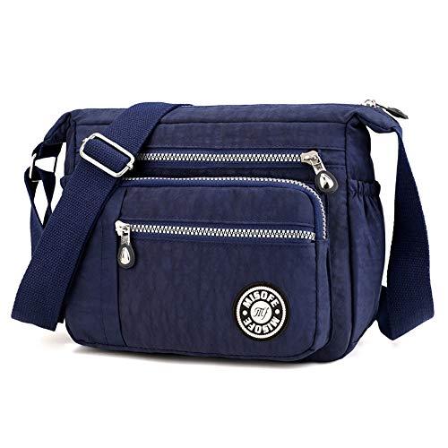 Bolsos de hombro tipo bandolera, de nailon, para mujer, modernos, estilo casual, color Azul, talla Small