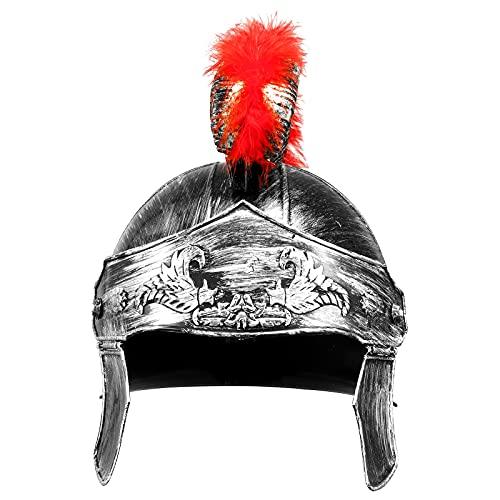 MSemis Casco Romano Antiguo con Adornos de Plumas Casco Espartano para Caballero con Penacho Disfraz Guerrero para Carnaval y Festivales Color Dorado y Plata Plata&Rojo One Size