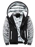 MRULIC Herren Hoodie Pullover Winter Warme Fleece Jacke Zipper Sweater Jacke Outwear Mantel RH-054 (EU-54/CN-5XL, Y2-Schwarz)