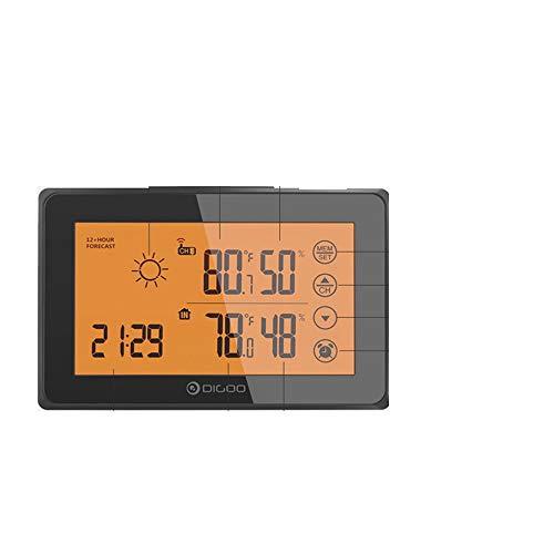 WBMKH Digital Touched LCD Wireless Innenwetterstation Außensensor Orange Hintergrundbeleuchtung 12 24h Snooze Wecker 3CH