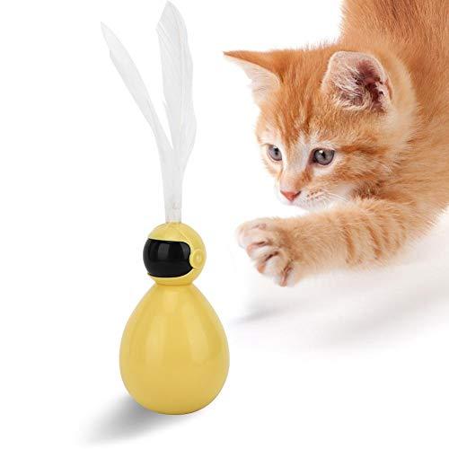 YOUTHINK Juguete de Plumas de Gato Abs Duradero Aliviar el Estrés Pet Robot Atractivo Tumbler Swing Ball con Feather Cat Teaser Juguete Interactivo Divertido(Amarillo)