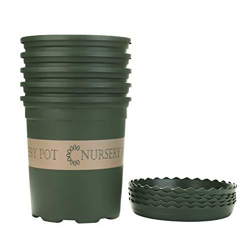 Akarden 5PCS 1 Gallon Nursery Pot Garden Planter Pots Nursery Plant Container with 5PCS Pallet (ArmyGreen)