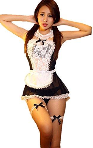 Hilai Mujer sexy sirvienta cosplay seductor gasa vestido de lencería adulta para el sexo de un tamaño negro
