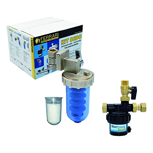 Kit Dedo Salvacaldaia Completo di Dosatore Polifosfati Anticalcare con Ricarica e Defangatore Magnetico Per Caldaia a Condensazione