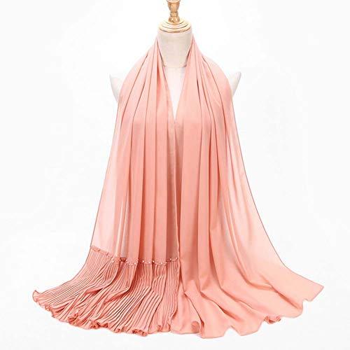 YANXS Schal Pearl Chiffon Plissee Schal National Wind Baotou Kopftuch Damen Solid Color Tuch Schal 185cm * 70cm,R