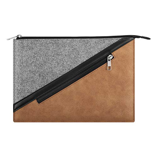 MoKo 13.3 Inch Laptop Sleeve, Laptop Briefcase Bag Zipper Pouch with Pocket Fits Macbook Pro 13' 2012-2015, Macbook Air 13' 2012-2017, iPad Pro 12.9' 2018/2020, Google Pixel Slate 12.3' 2018 - Brown