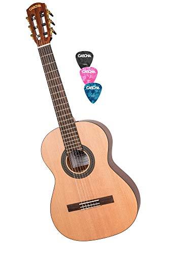 CASCHA 3/4 Konzertgitarre, klassische Kindergitarre ab 8 Jahren, Akustik Gitarre für Anfänger, Classic Guitar, Nylonsaiten, inklusive 3 Plektren