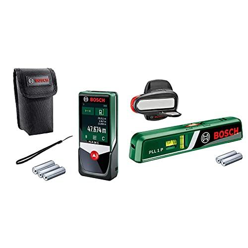 Bosch Digitaler Laser Entfernungsmesser PLR 50 C (mit App Funktion, 50 Meter Messweite, im Karton) & Laser-Wasserwaage PLL 1 P (Arbeitsbereich Linienlaser 5 m, Arbeitsbereich Punktlaser 20 m)