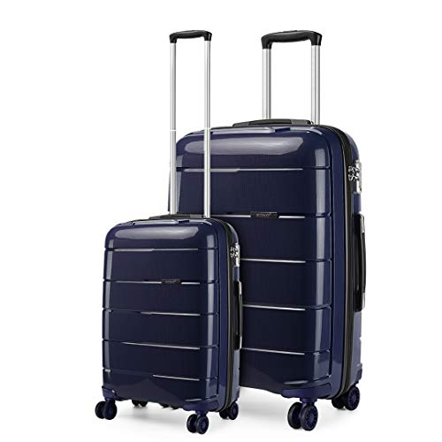 Kono Lightweight Polypropylene 2 Piece Luggage Set 20' Cabin + 28' Check in Spinner Suitcase with TSA Lock and YKK Zipper (Navy)