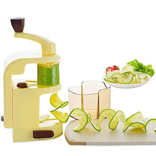 FEE-ZC Hochleistungssicherheit 4-Klingen Eingebauter Gemüsespiralisator, Spiralschneider Zucchini-Nudel Veggie Pasta Spaghetti Maker Leistungsstarker Sauger Multifunktion, Gelb