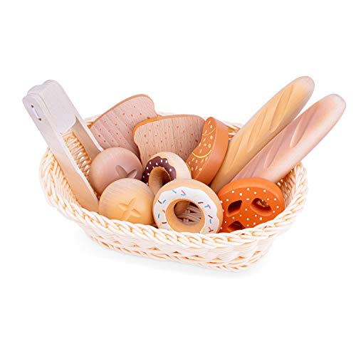 New Classic Toys 10605 Wooden Pretend Play Kids Bread Basket Set Cooking...