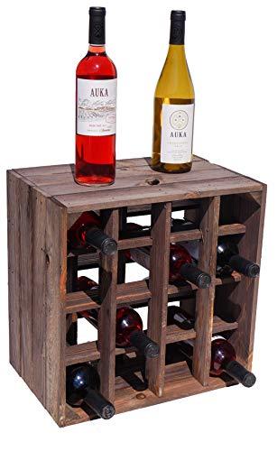 Kistenkolli Altes Land Weinregal 16er dunkel Maße 40x40x27cm Regalkiste Flaschenablage Weinregal Apfelkiste/Weinkiste (1er Set Weinregal 16er dunkel)