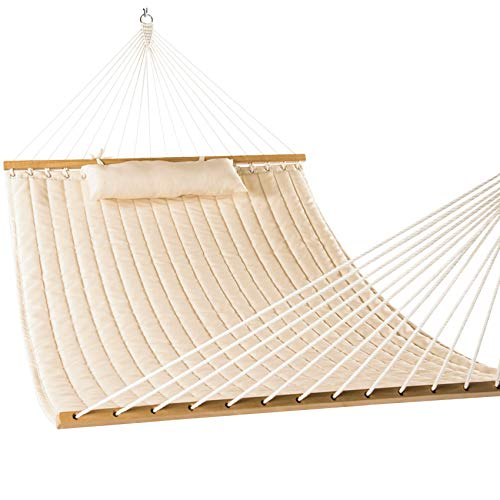 """Lazy Daze Hammocks 55"""" Double Quilted Fabric Hammock Swing with Pillow, Sandy"""